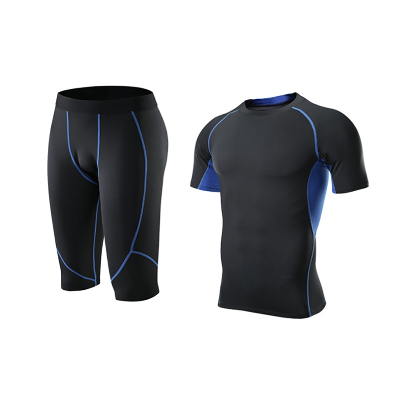 Men 39 s Fashion Sportswear Elastic Fitness T shirt Fast Drying Tops Short Pants Sports Tight Calf length Trousers Shorts Set in Volleyball Sets from Sports amp Entertainment