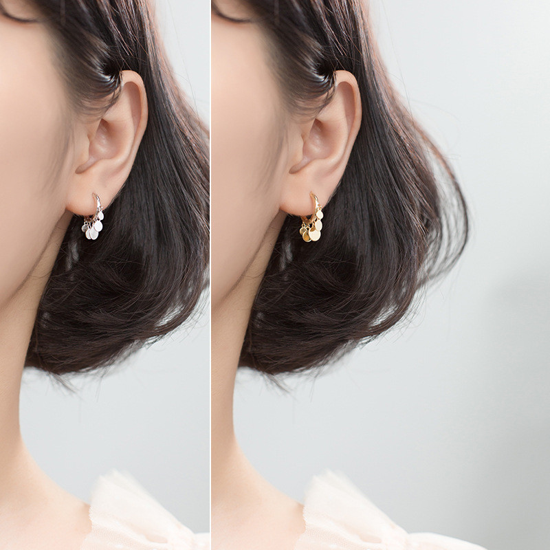 WANTME Hot Sale 100% 925 Sterling Silver Round Small disc Tassel Pendant Stud Earrings for Women Girls Party Daily Wear Jewelry