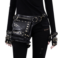 OMIKRON New PU Leather Steampunk Retro Waist Bag for Women Men Multi function Black Travel Motorcycle Crossbody Chest Fanny Pack
