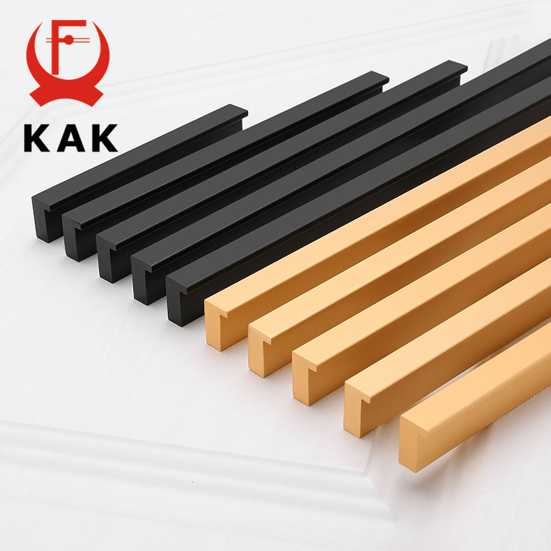 KAK American Style Black Cabinet Handles Gold T Bar Aluminum Alloy Kitchen Cupboard Pulls Drawer Knobs Furniture Handle Hardware