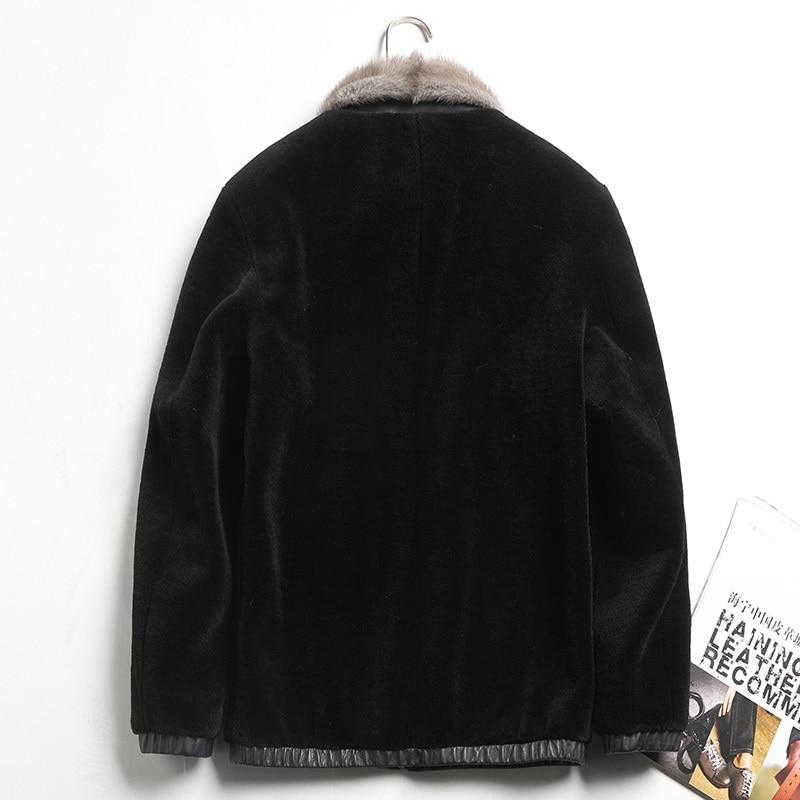Real Sheepskin Leather Jacket For Men Short Black Wool Coat Plus Size 4XL Natural MInk Fur Collar Outwear Jaquetas De Couro 2335