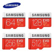SAMSUNG EVO-tarjeta de memoria Micro SD, 256GB, 512GB, Microsd de alta velocidad, 100 MB/s, 128GB, 64G, SDXC, grado C10, UHS, TF, SD