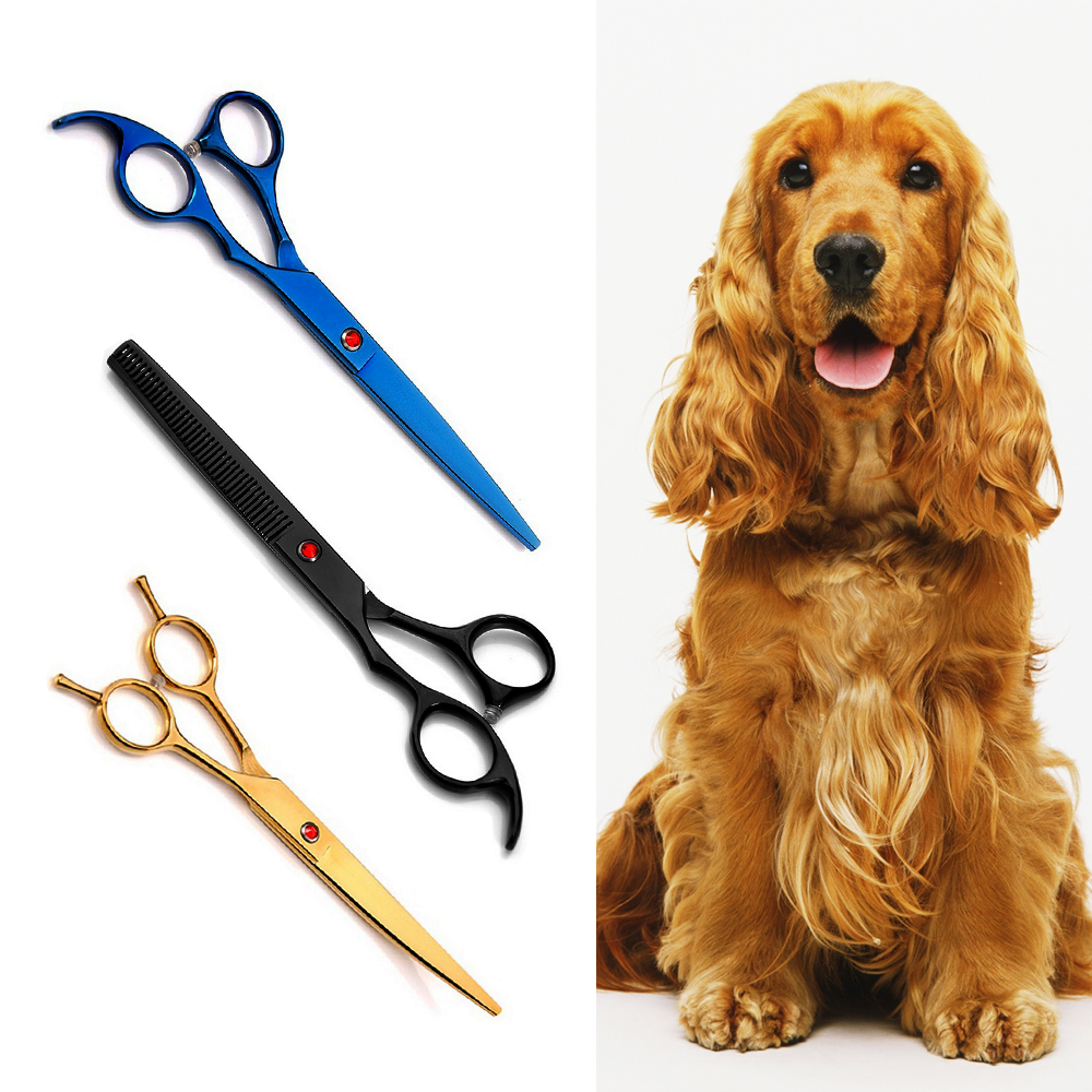 7 Inch Cutting Hair ScissorsStainless Steel Pet Grooming Kit Hair Styling Tool Hairdressing Dog Thinning Scissors Professional