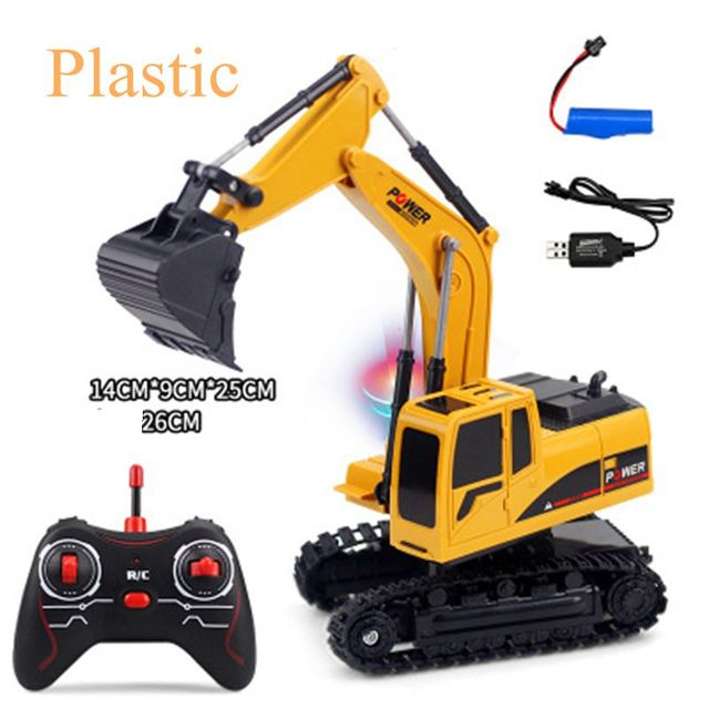 Excavator RC Toy 2.4Ghz 6 Channel 1:24 RC Excavator RC Engineering Car Alloy Plastic Excavator Gift Toy For Kids