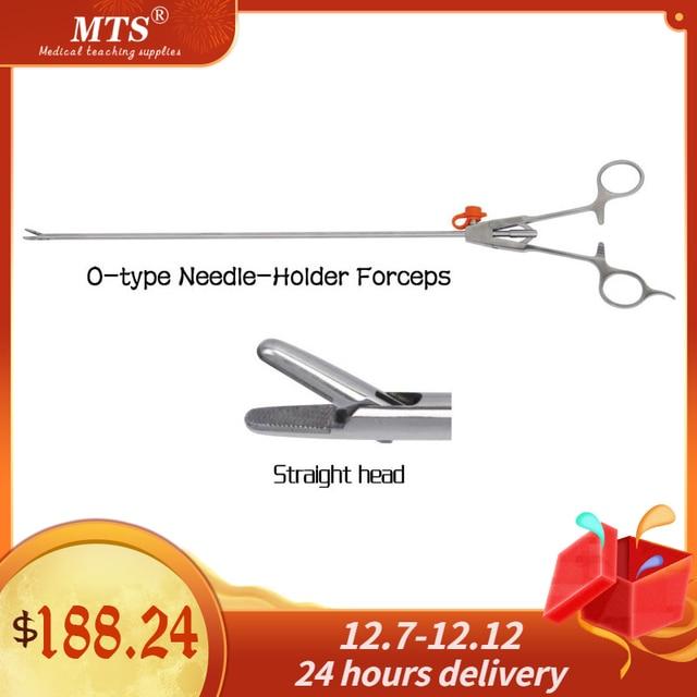 MTS tıbbi endoskop cerrahi aracı o tipi İğne tutucu forseps düz kafa laparoskopik cerrahi için