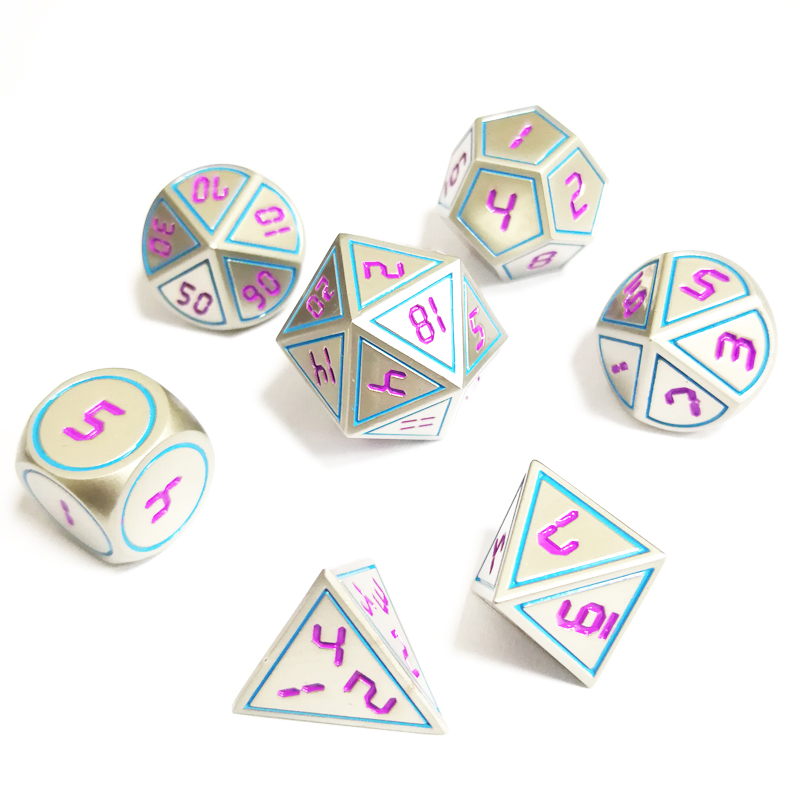 7Pcs/Set Creative Rpg Dice D&D Metal Dice Dnd Game Dice Dnd Pearl Nickel Green Font