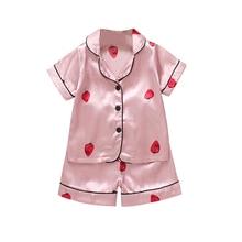 Baby Kids Clothes Nightdress Sets Boys Girls Strawberry Print Outfits Short Sleeve Blouse Tops+Shorts Sleepwear Pajamas Set