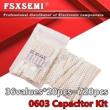 36 valores x20pcs = 720 pces 1pf 10 10uf 0603 smd capacitor sortido kit amostras kit kit eletrônico diy