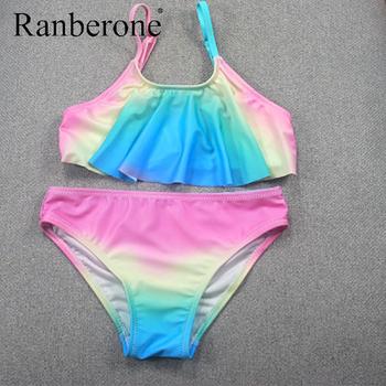 Ranberone dwuczęściowe kostiumy kąpielowe strój kąpielowy dla dziewczyn tęczowe paski stroje kąpielowe Split Bikini kostium na lato ubranka dla dzieci tanie i dobre opinie CN (pochodzenie) Pasuje prawda na wymiar weź swój normalny rozmiar Dziewczyny Poliester WS21599 Drukuj Two Piece Bathing Suits