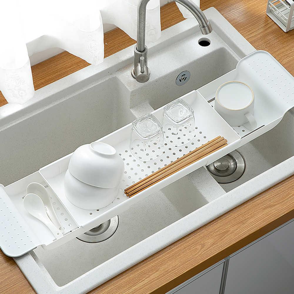 Telescopic Sink Storage Holder,Expandable Storage Drain Basket,Drain Shelf Sink Storage Rack Sponge Holder for Kitchen Bathroom White