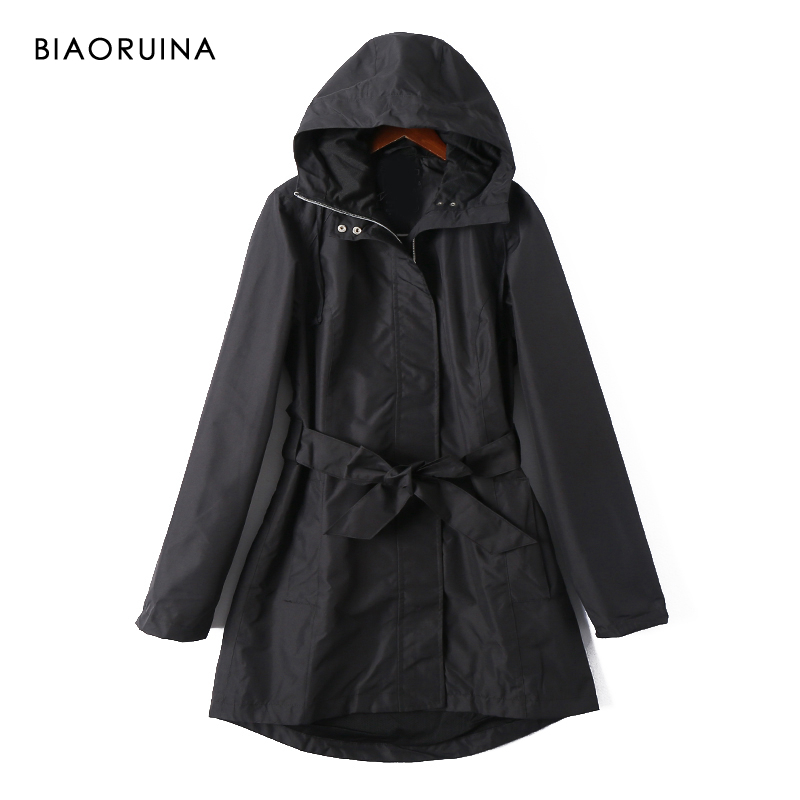 BIAORUINA Women's Black Casual Waterproof Long Hooded   Trench   Female High Street Straight Windproof Coat Outerwear with