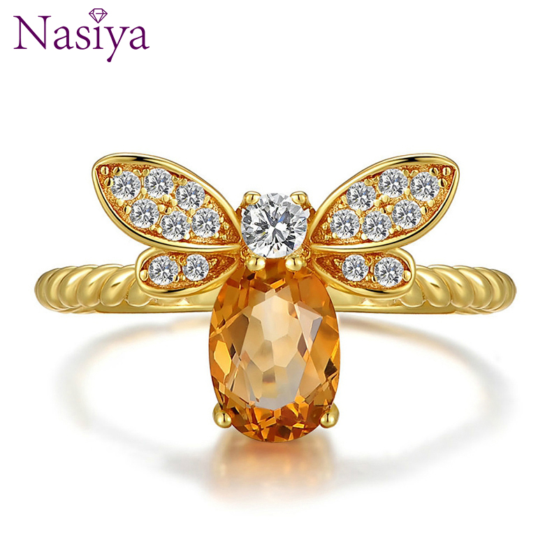 Nasiya Finger Rings For Women Geniune 925 Sterling Silver Ring Orange Animal Bee Silver Jewelry Christmas Party Anniversary Gift