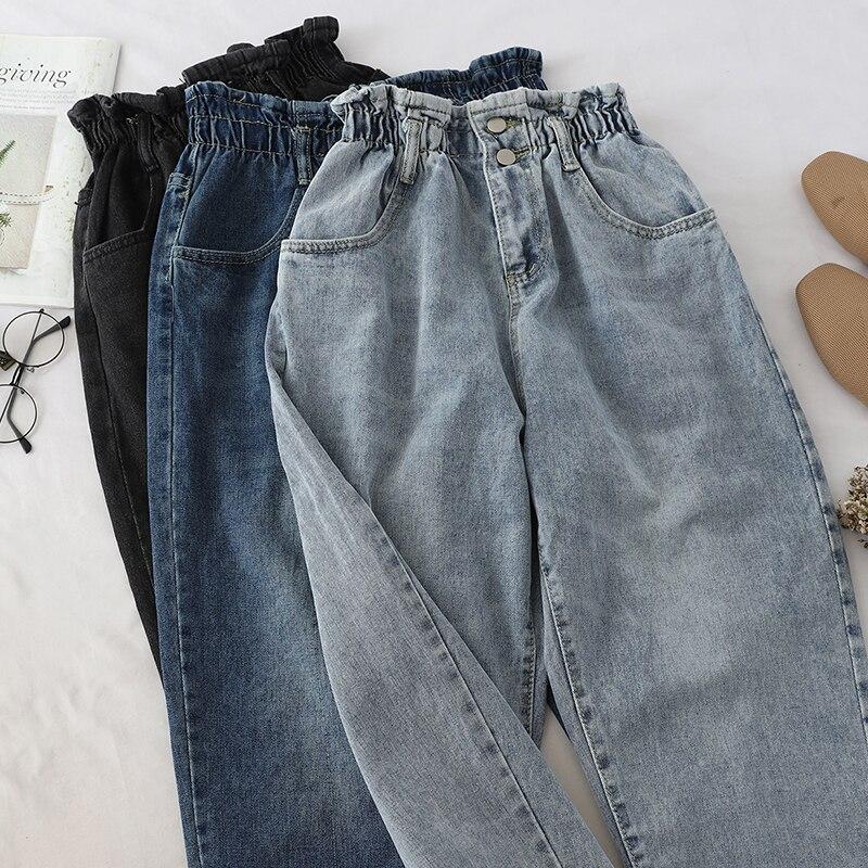 High Quality Soft Vintage Boyfriend Jeans For Women 2019 Elastic High Waist Mom Black Jeans Harajuku Long Denim Pants