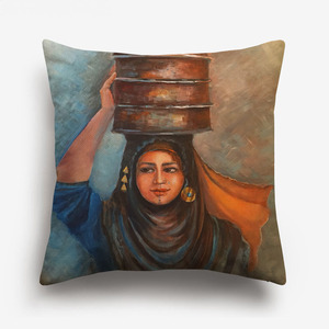 Image 5 - 중동 이슬람 유화 여성 레이디 쿠션 커버 아라비아 민속 문화 예술 베개 커버 침실 리넨 베개 케이스