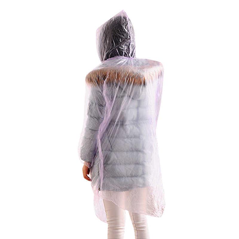 Pvc descartável mulher homem capa de chuva engrossado impermeável chuva poncho casaco adulto claro transparente acampamento hoodie rainwear terno