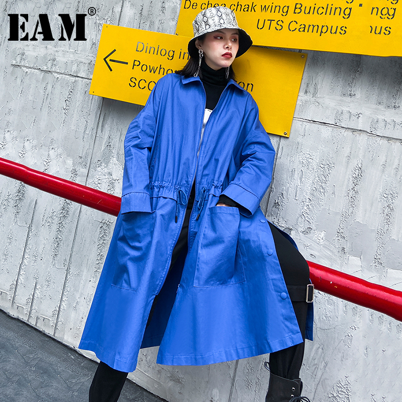 [EAM] Women Blue Black Pocket Big Size Trench New Lapel Long Sleeve Loose Fit Windbreaker Fashion Tide Spring 2020 1R496