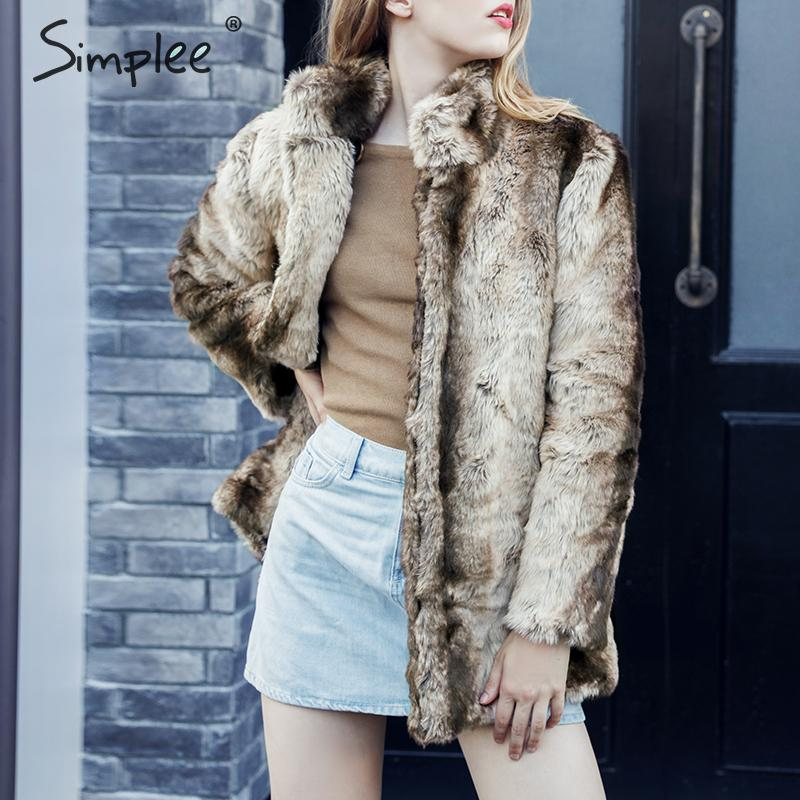 Simplee Casual Plus Size Women Faux Fur Coat Autumn Winter Thick Female Warm Coats Jackets Fashion Patchwork Ladies Overcoats