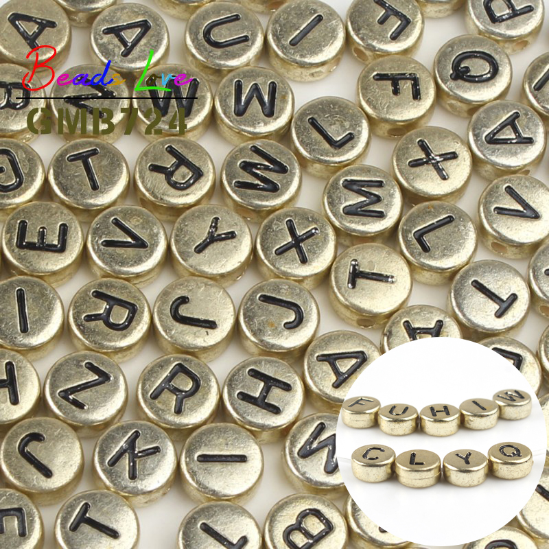 Mixed Alphabet Letter Acrylic Flat Round Spacer Beads 7.5mm