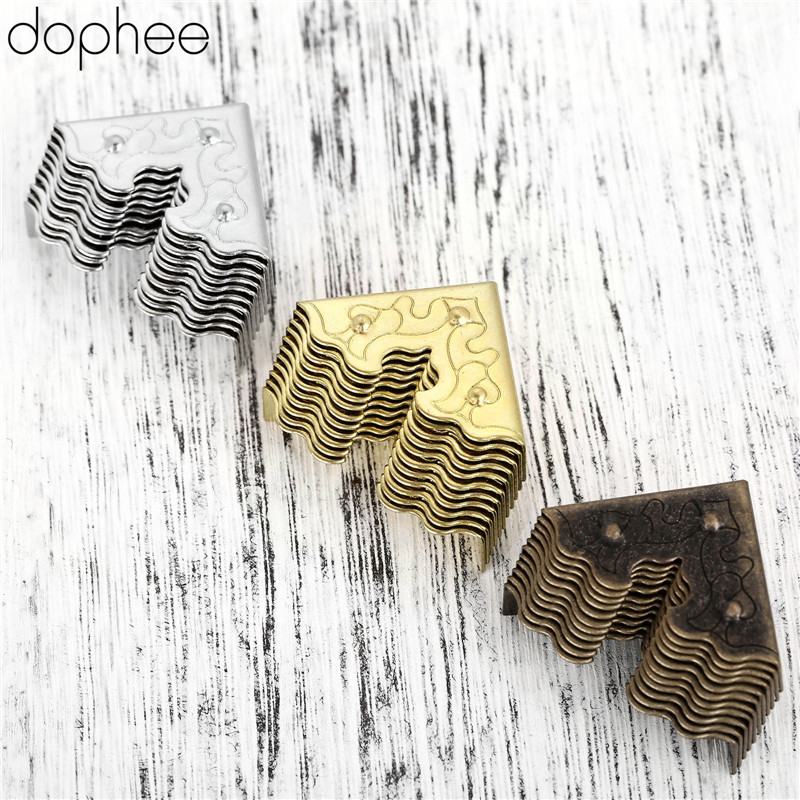 Dophee 10Pcs Antique Furniture Metal Crafts Jewelry Box Corner Foot Wooden Case Corner Protector Decorative Corner 25mm