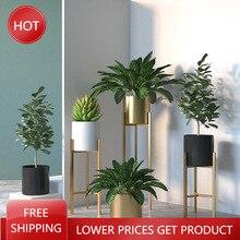 Nordic Modern Iron Flower Pots Living Room Balcony Indoor Flower Flower Pots Simple Floor-standing Green Plant Garden Supplies