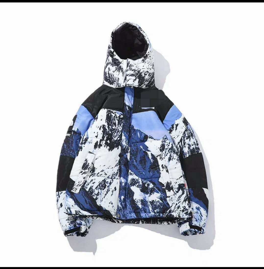 Hot Sale Snow Mountain Printed Thick Down Feather Cotton-padded Clothes Cool Printed Snow Mountain Down Jacket-zang Mao Have Rai