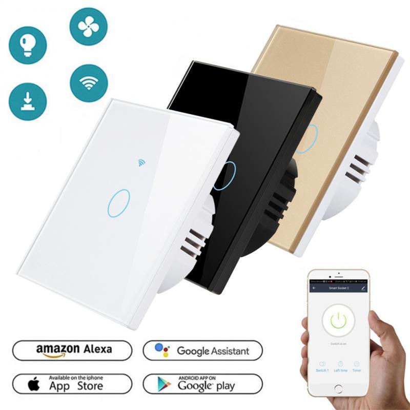 Wifi Touch Smart Light Switch Panel Wall 1/2/3 Gang EU Standard Smart Life Tuya/RF433 Remote Control Work With Alexa Google Home