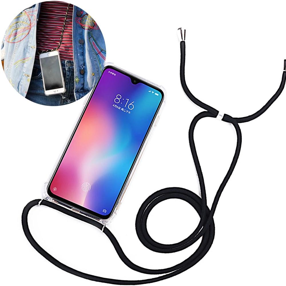 Strap Cord Chain Cover Redmi Note 8T 8 7 6 5 Pro 7A 8A K20 K30 Necklace Lanyard Case For Xiaomi Mi Note 10 9T A2 A3 Lite CC9E