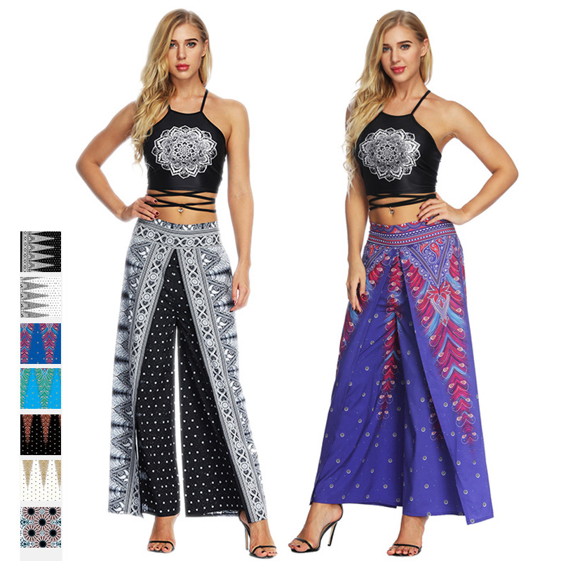 Women Print Sexy Vest Bohemia Pants Femme Fashion Floral Pattern Clothing Set Trousers Indian Dance Costumes Suit Ladies Clothes