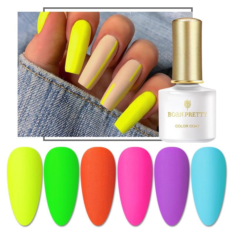 BORN PRETTY 6ml Color Fluorescence Gel Nail Polish Summer Series Permanent Soak Off Gel Varnish Neon UV LED Nail Art Varnish
