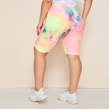 Plus Size Multicolor Tie Dye Elastic Waist Skinny Bermuda Shorts