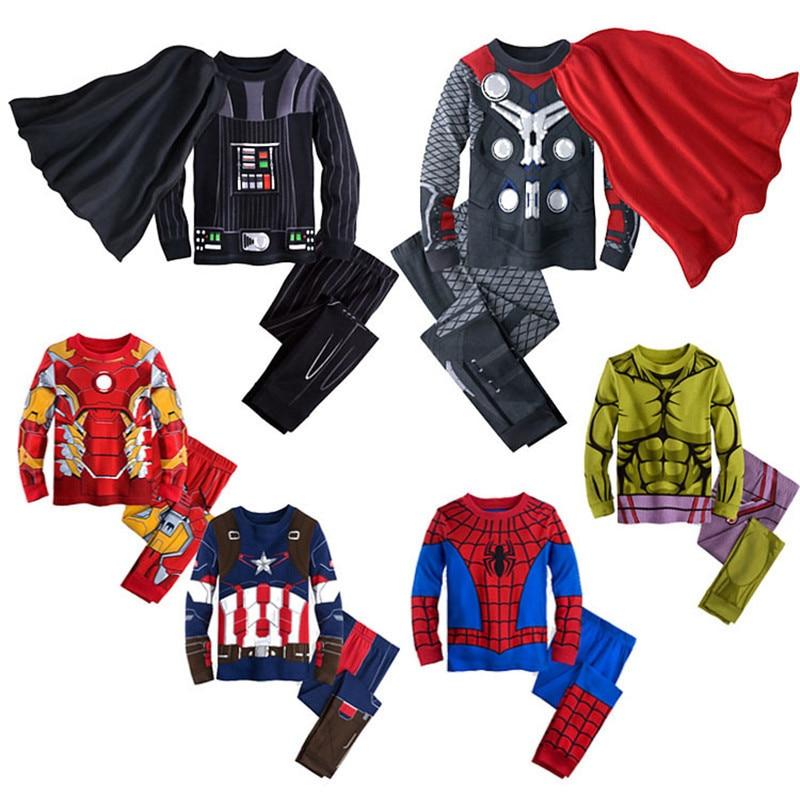 Kid Pajamas Children Sleepwear Baby Pajama Set Boy Girl Iron Man Costume Pyjamas Pijama Cotton Cartoon Captain America Nightwear