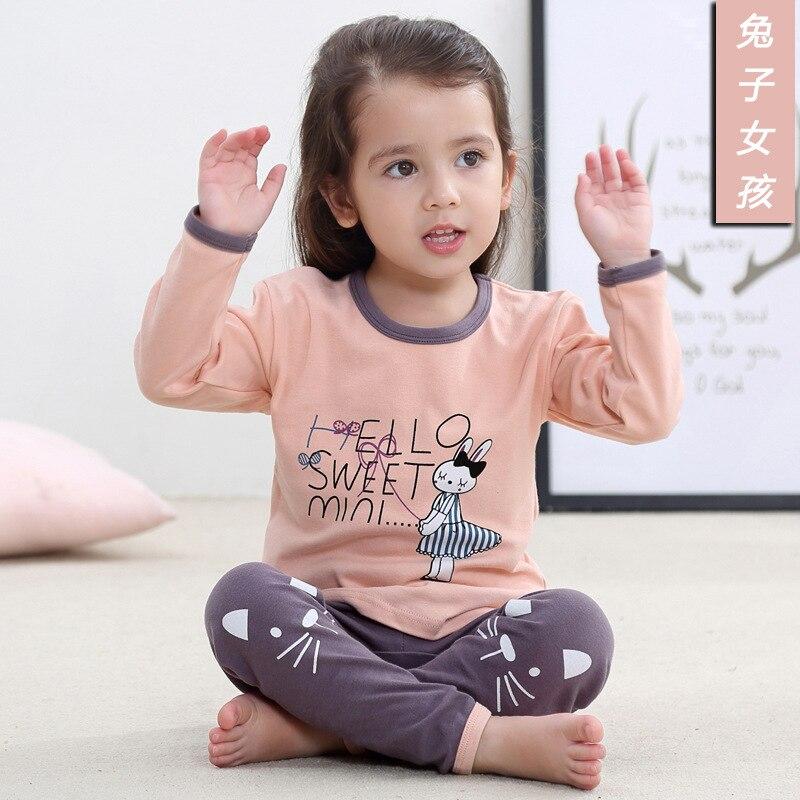 Kids Clothes 2020 Autumn Girls Boys Sleepwear Pajamas Baby Infant Home Clothes Animal Cartoon Pajama Sets Cotton Girls Pyjamas