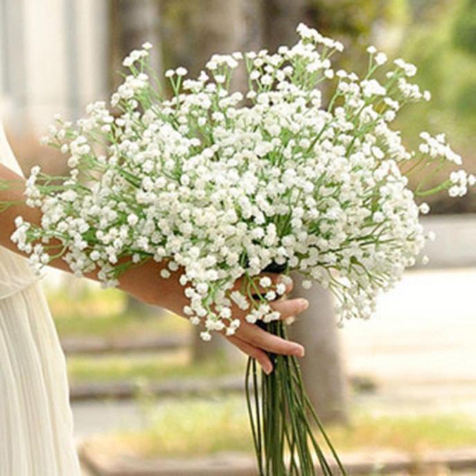 Segurando flores secas decoração artificial gypsophilas flor falso seda festa de casamento buquê decoração para casa flor artificial