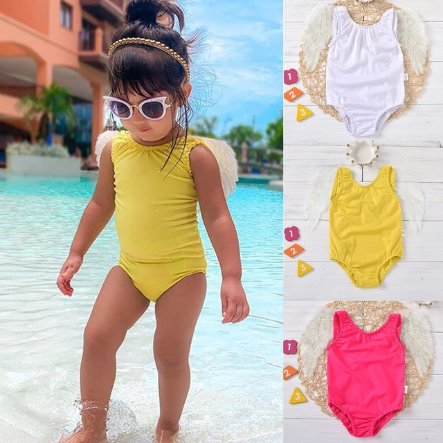 Baby Kids Girls Color Wing One Piece Swimwear Summer Swimsuit 1
