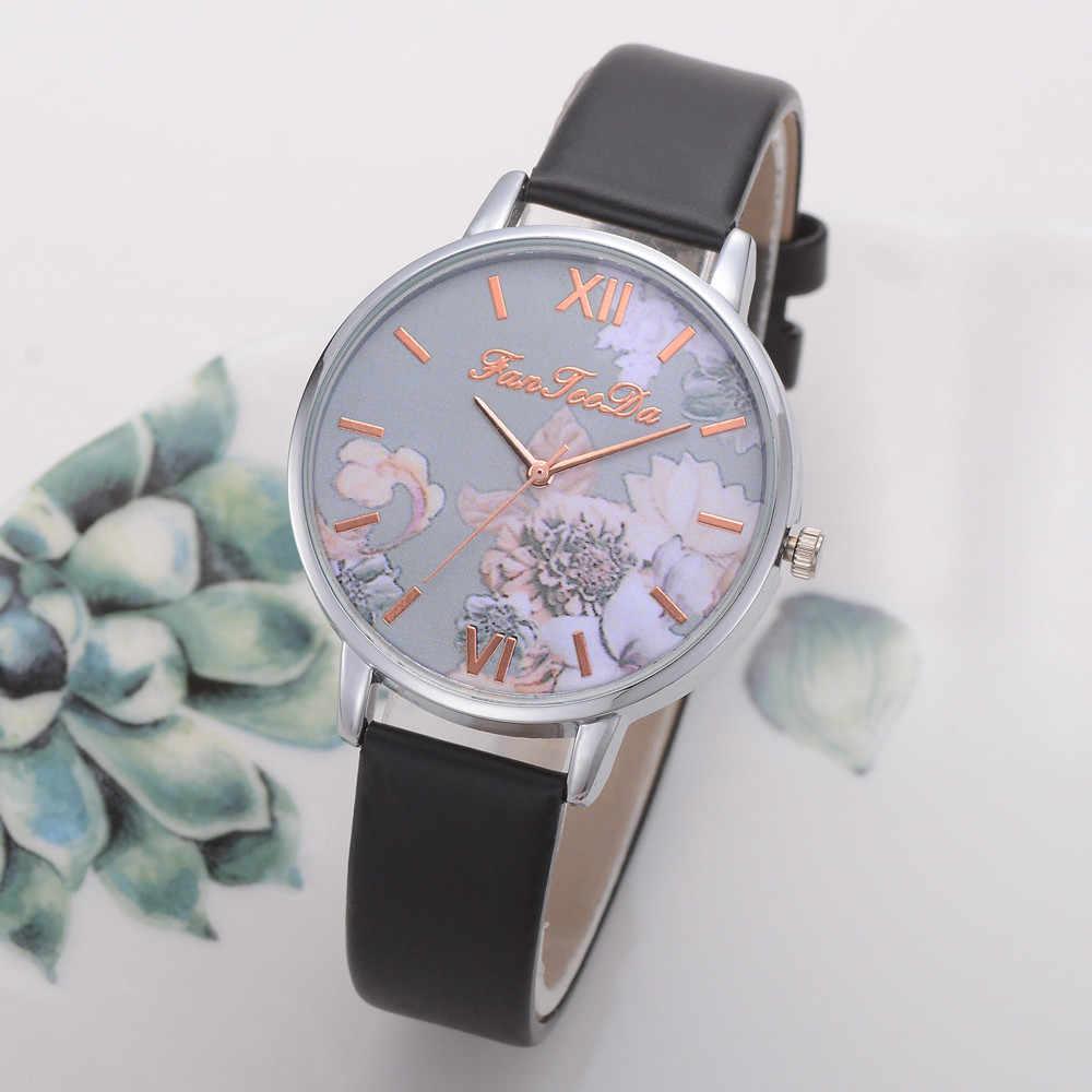 カジュアル腕時計女性高品質ヴィンテージクォーツドレスウォッチ中国ブレスレットフラワーレザーバンド腕時計montresファム %
