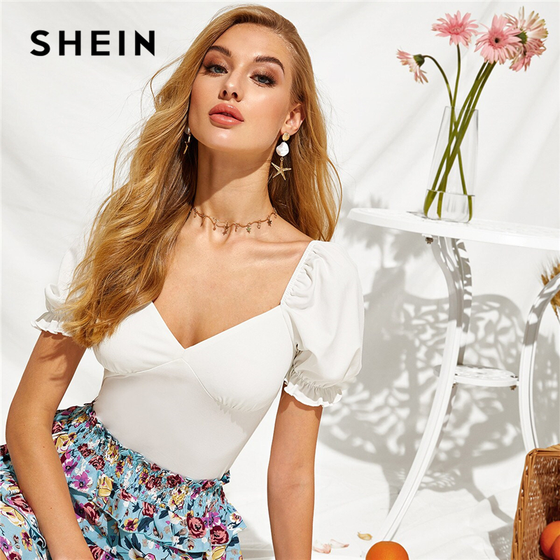 SHEIN White Solid Deep V Neck Sexy Ladies Stretchy Bodysuit Women Tops 2019 Summer Puff Sleeve Elegant Skinny Bodysuits