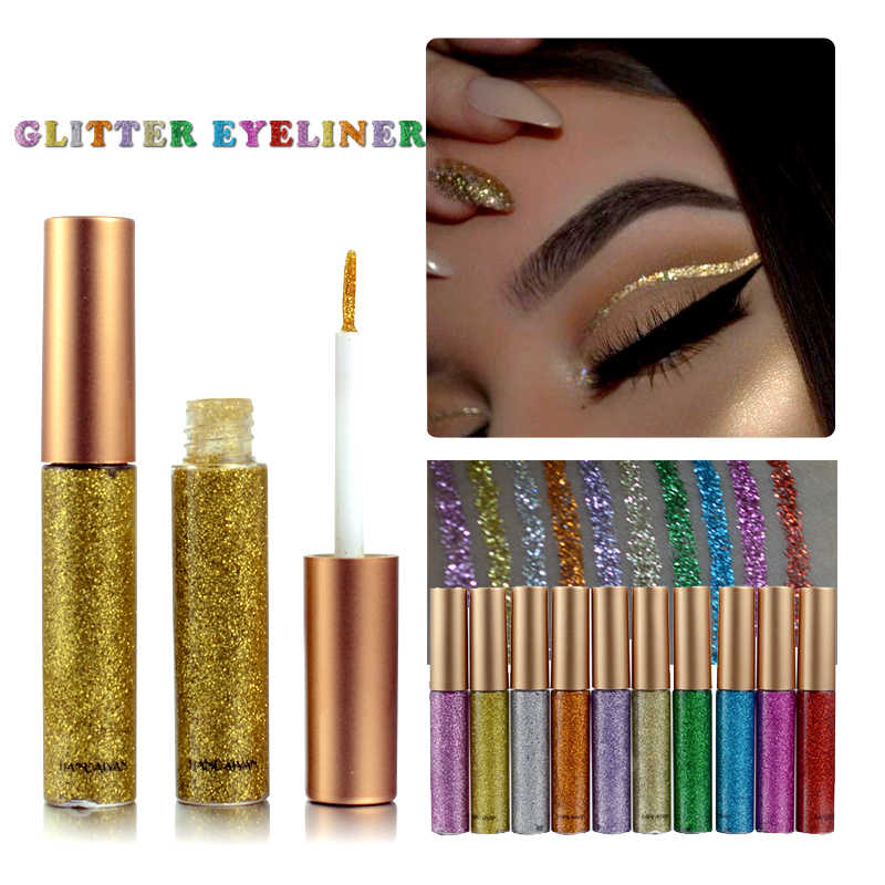 Di modo Super Glitter Eyeliner Lucido Argento Champagne Colorato Eyeliner facile da Indossare Eye Pigmento Make Up Bellezza