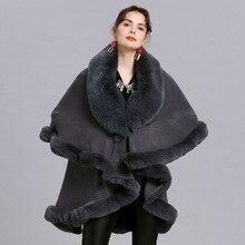 Fashion Double Layer Handcraft Fox Fur Cape Shawl Long Knit Cashmere Poncho Coat Wraps Faux Fur Pashmina Cloak Women Winter New