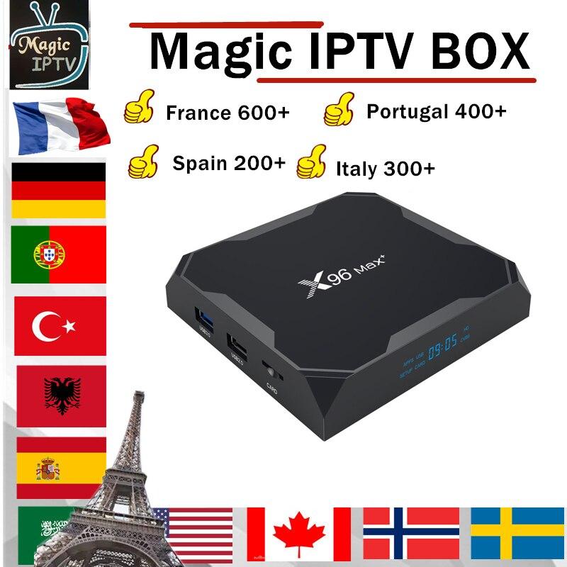 World IPTV X96 Max+ Android Box 1 Year Iptv Subscription Europe Iptv Portugal Spain France Italy USA Smart Iptv Box