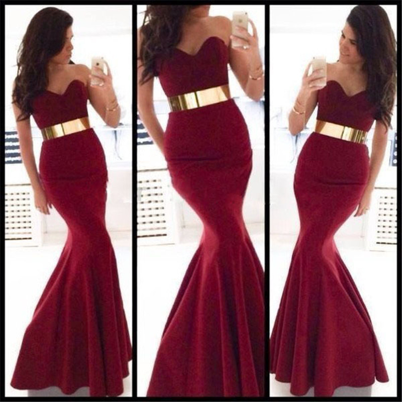 Cheap Velvet Sexy Long Red Mermaid Unique Formal Prom Party Gowns For Women Robe De Soiree Abendkleider Bridesmaid Dresses