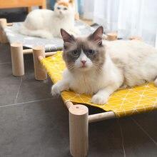 Lit surélevé pour chat, lit hamac en bois, toile pour chat, lit de salon pour petits lapins, chats, chiens, fournitures de maison pour animaux de compagnie