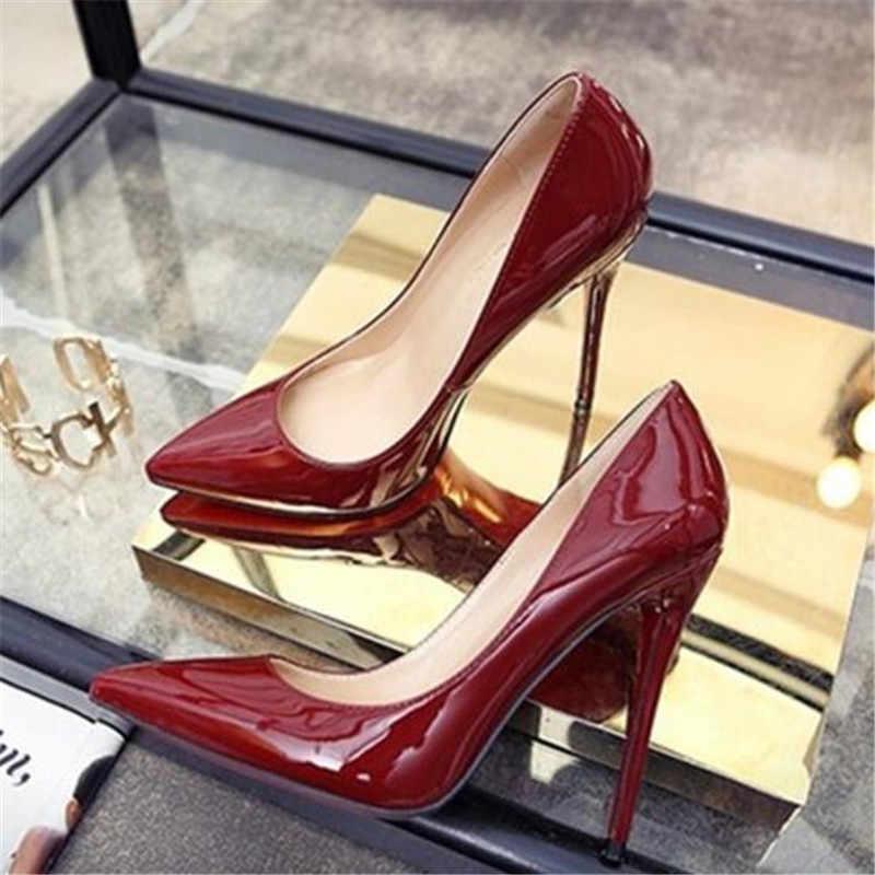 Zapatos de marca para mujer, zapatos de tacón alto, zapatos de tacón alto rojo para mujer, zapatos de boda de cuero PU de 12CM