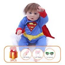 44cm Baby Doll Reborn Dolls Simulation Soft Silicon Newborn Doll Boy With Superman Clothing Children Gifts Toys For kids superman reborn