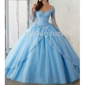 Винтажное платье мятно-синего цвета в стиле Quinceanera для возраста 15 лет, кружевное бальное платье с глубоким вырезом и аппликацией, недорогие ...