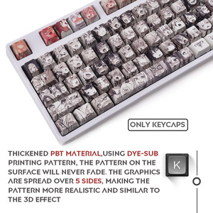 Image 3 - 108key Ahegao OEM PBT Keycaps Dye Sublimation Japanese Ukiyo e Anime keycap For Cherry Gateron Kailh Switch Mechanical Keyboard