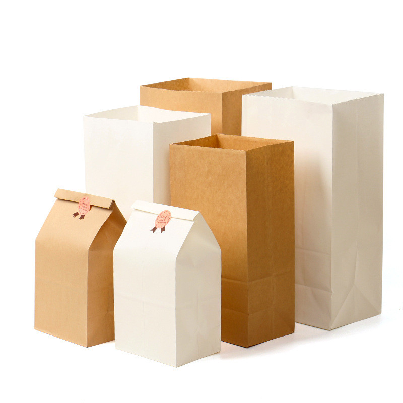 10/20pcs Brown Kraft Paper bag Gift Bags packing Biscuits Food bread Cookie Nuts Snack Baking Package Takeout Eco-friendly Bag66
