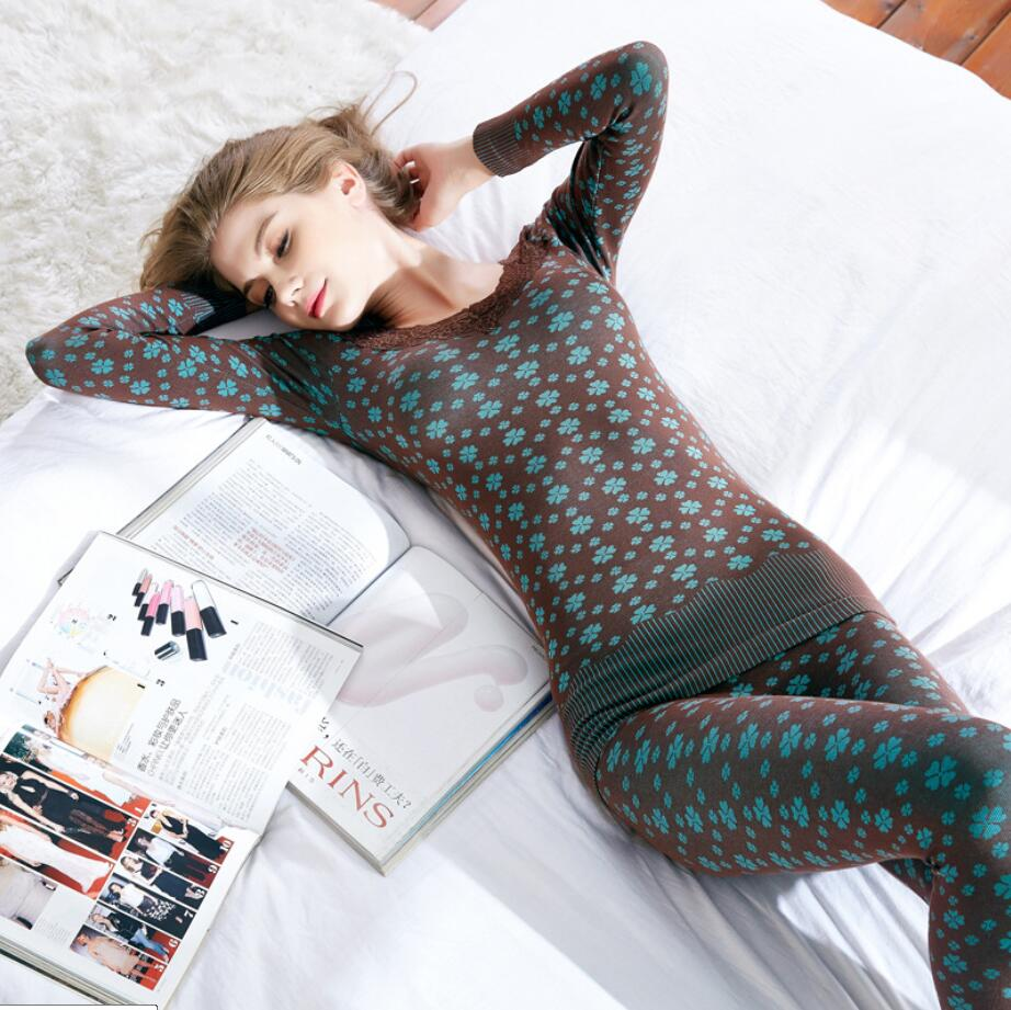 Women Sexy V-neck Long Johns Winter Cotton Second Female Thermal Skin Warm Suit Korean Printed Lace Thermal Underwear For Women