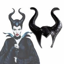 Halloween cosplay maleficent bruxa chifres chapéu capacete máscara chapelaria festa preto rainha