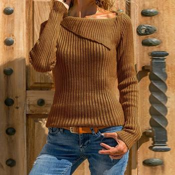Women Sweater Ladies Knitted Tops Irregular Collar Pullovers Jumper Sweater Pullover Brown Christmas Sweater winter Knitwear grey chimney collar flared sleeves irregular hem sweater