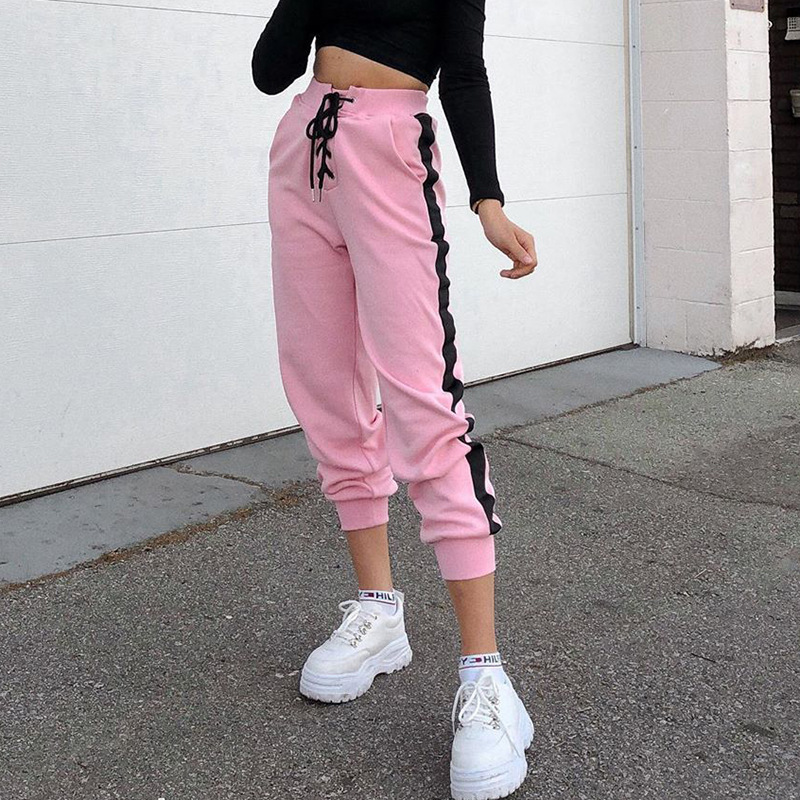 HOUZHOU Autumn Winter Pants Women Casual Joggers Cotton Sweatpants Panelled Bunch Legs High Waist Trousers Women Straight Pants